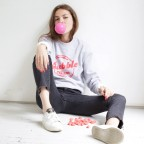 "Sweat-shirt gris ""Bubble Gum"""