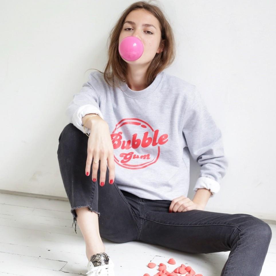 """Felpa grigia """"Bubble Gum"""""""