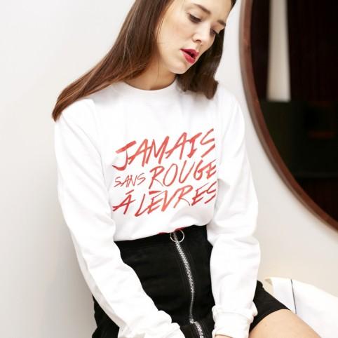 Sweat-shirt Jamais sans rouge à lèvres blanc bordeaux