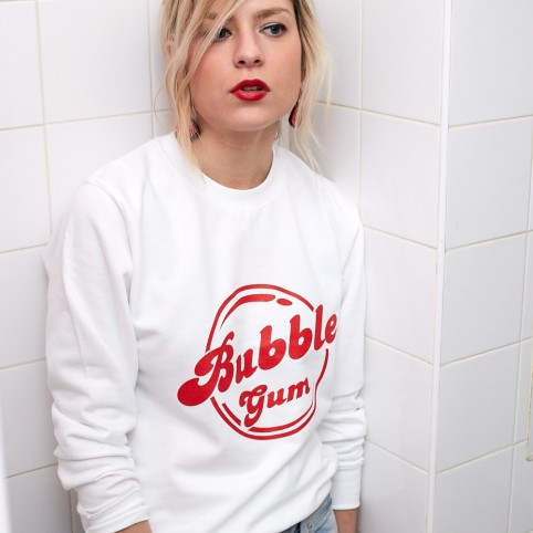 Sweat Bubble Gum blanc et rouge