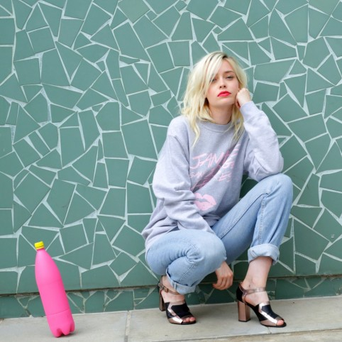 JSRAL sweatshirt in grey and pink
