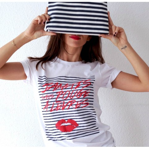 Tee-Shirt blanc JSRAL imprimé Marinière