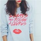 Sweat-shirt Jamais sans rouge à lèvres Gris et Rouge