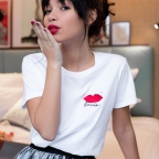 White T-shirt embroided Bacio