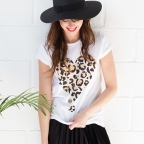 Tee-shirt cœur léopard
