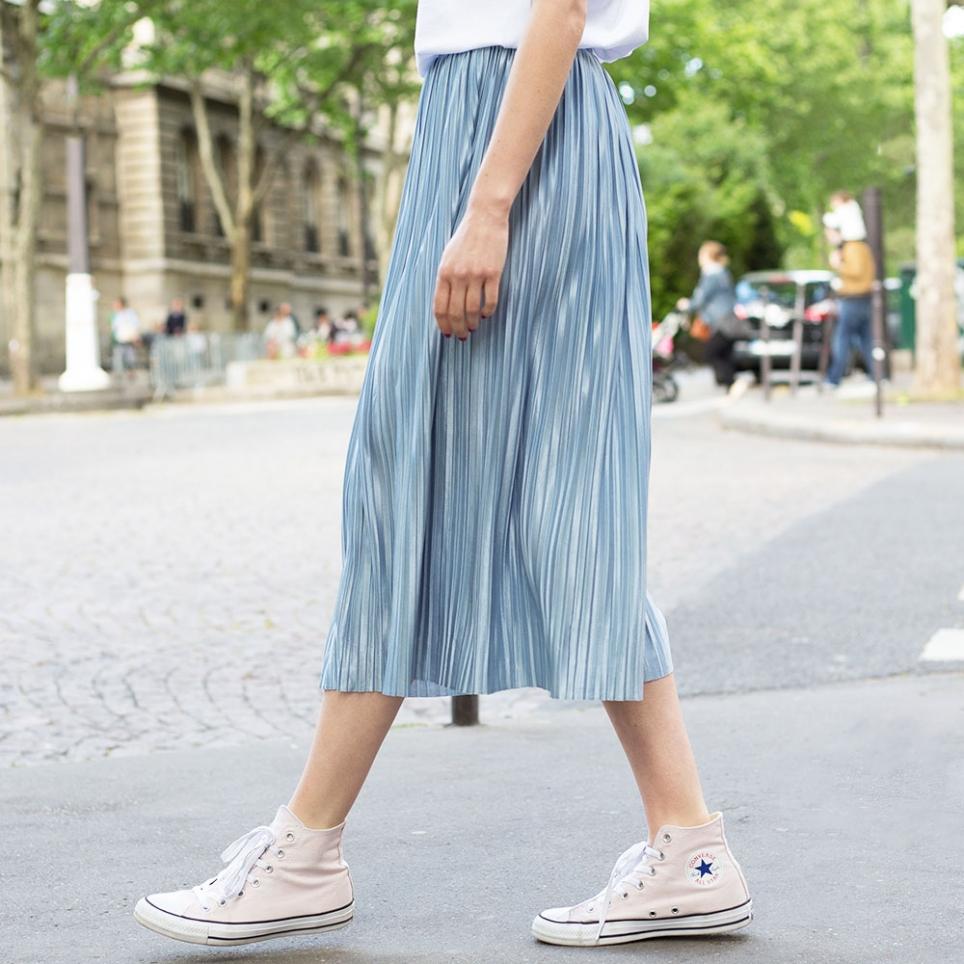 Jupe plissée bleue