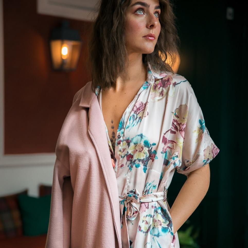 Robe Barbara Rose Fleurie