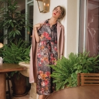 Robe Barbara Grise Fleurs