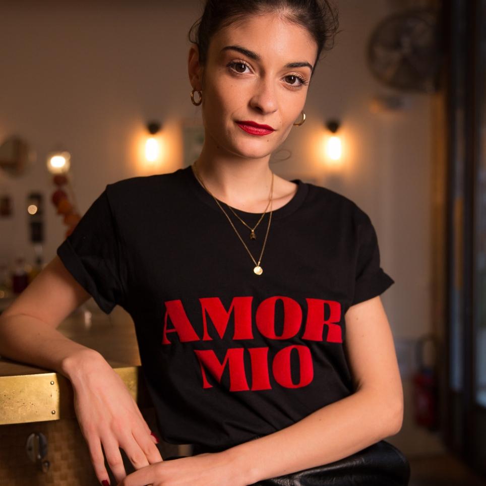 "T-Shirt ""Amor Mio"" noir"