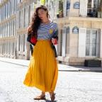 Jupe plissée jaune
