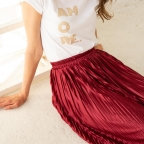Deep red pleated skirt