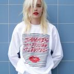 Sweat-shirt Jamais sans rouge à lèvres marinière