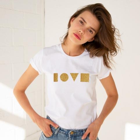 T-shirt Love Gold