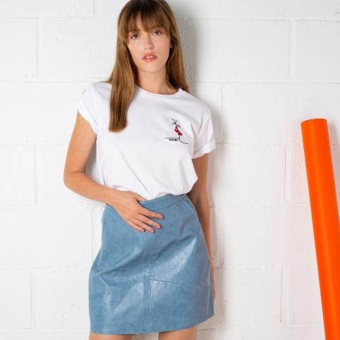 Mini-Jupe PU Bleue