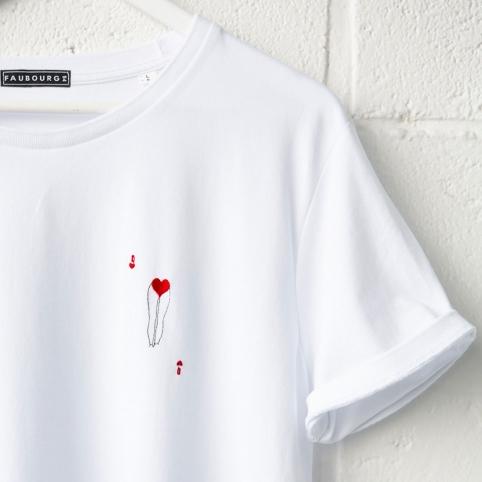 T-shirt blanc Dame de Q homme