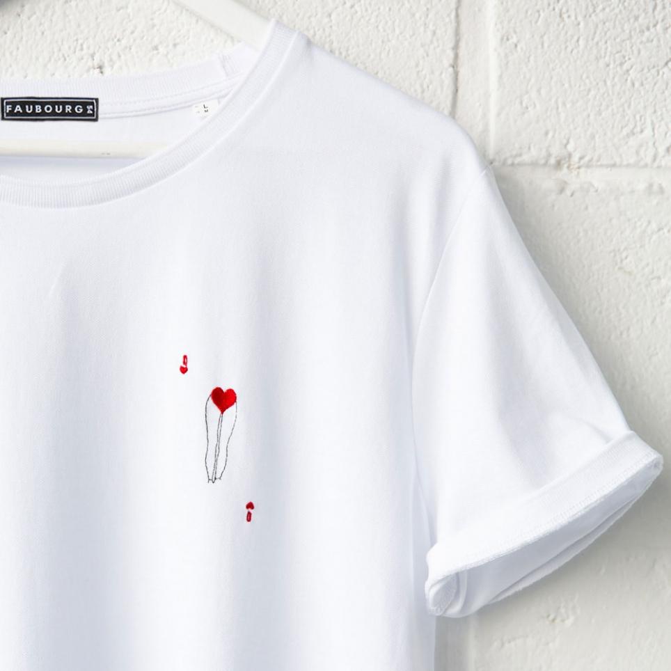 T-shirt blanc Dame de Coeur