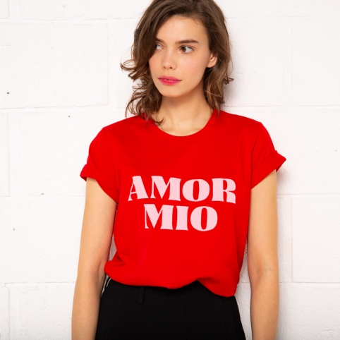 T-shirt Amor Mio rouge et rose