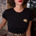 T-shirt Martina Gold Noir