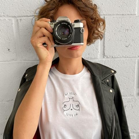 T-Shirt My Boobs My Rules Blanc