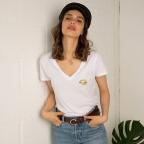 T-Shirt Col V Martina Gold Blanc