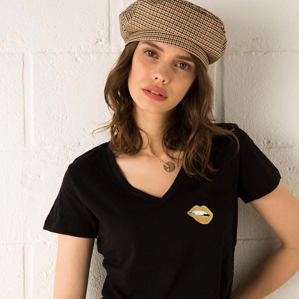 T-Shirt Col V Martina Gold Noir