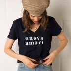 T-Shirt Col v Nuovo Amore Bleu