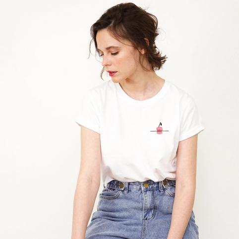 T-Shirt Couché de Cerise Rose