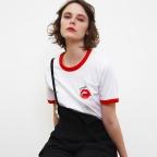 T-Shirt Piccante Blanc Col Rouge