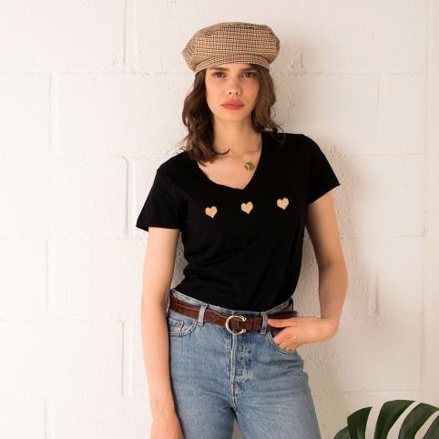 T-Shirt Col V Celine Gold Noir