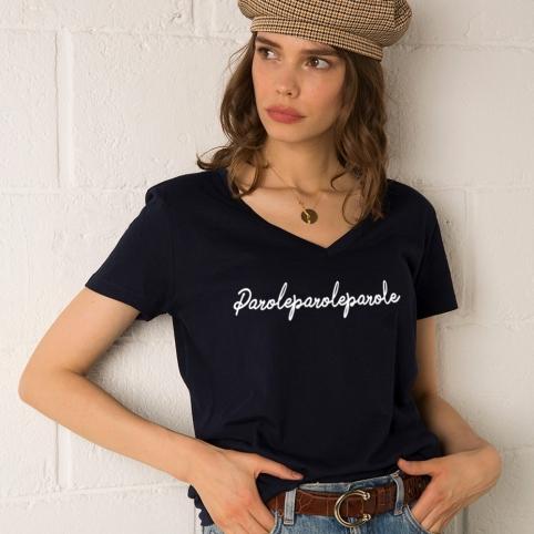 T-Shirt Col V Parole Bleu Navy
