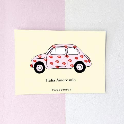 Postcard Fiat 500