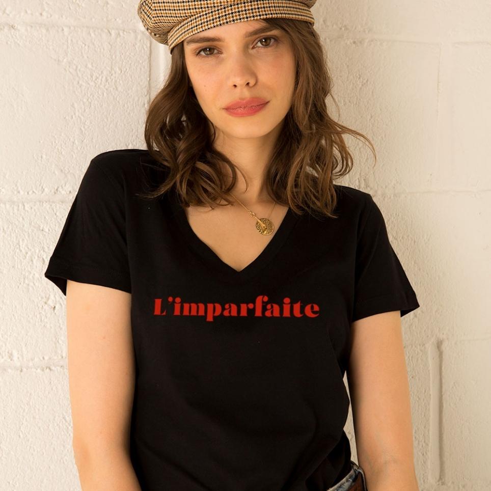 T-Shirt Col v L'imparfaite Noir