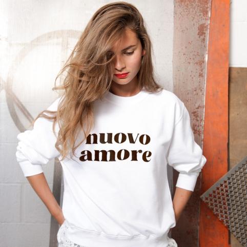 Sweat Nuovo Amore Cuir Martelé Blanc