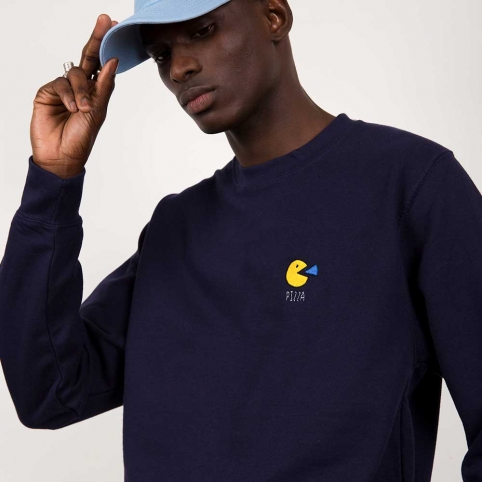 Sweat Pac Man Bleu Homme