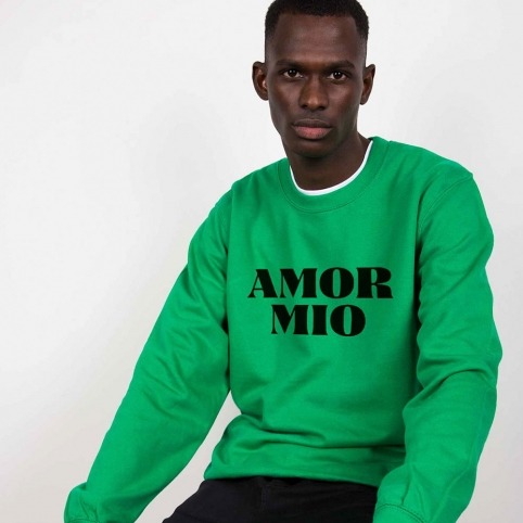 Green Sweatshirt Amor Mio