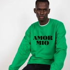 Green Sweatshirt Amor Mio