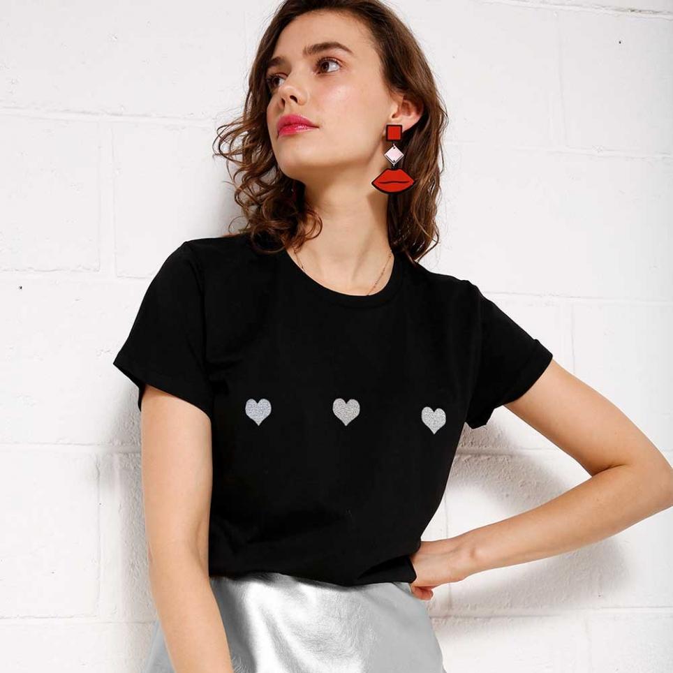 T-Shirt Silver Celine Noir