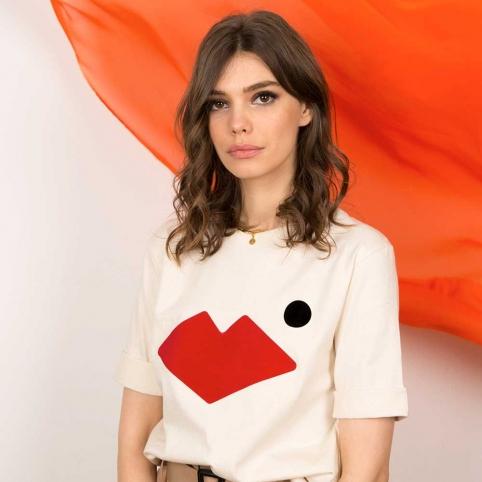 T-Shirt Bouche Célia Crème