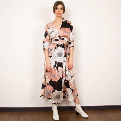 Pink Silk Wrap Dress Ludovica