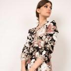 Robe Portefeuille Ludovica Rose Pâle Fleurie