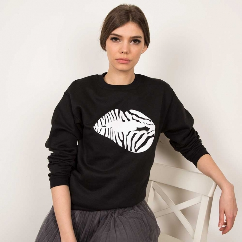 Black Sweatshirt Martina Zebra