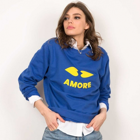 Blue Sweatshirt Heart Lips