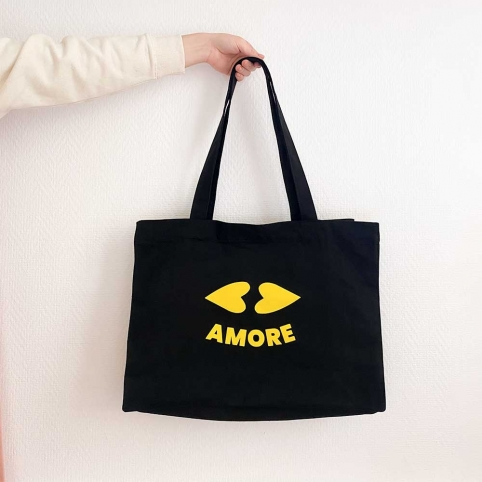 Black Tote Bag Heart Lips