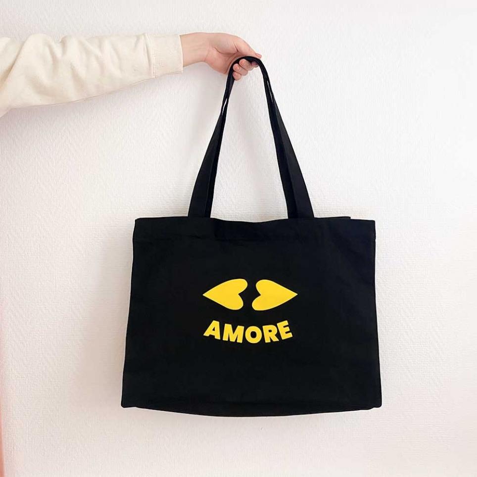 Black Tote Bag Heart Lips