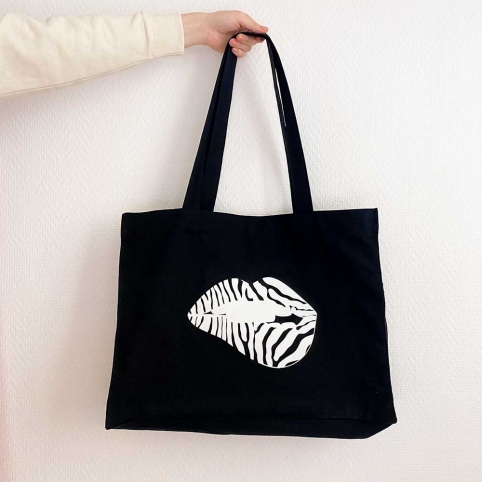 Black Tote Bag  Martina Zebra Lips
