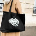 Black Tote Bag  Martina Zebra Lips