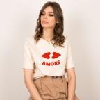T-Shirt Bouche Cœur Crème