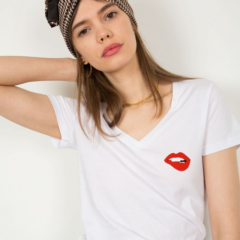 T-Shirt Col V Martina Blanc