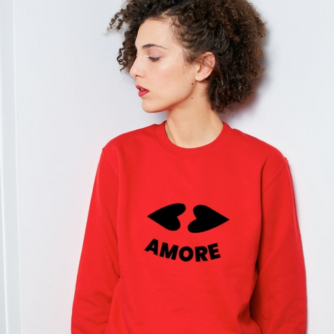 Red Sweatshirt Heart Lips