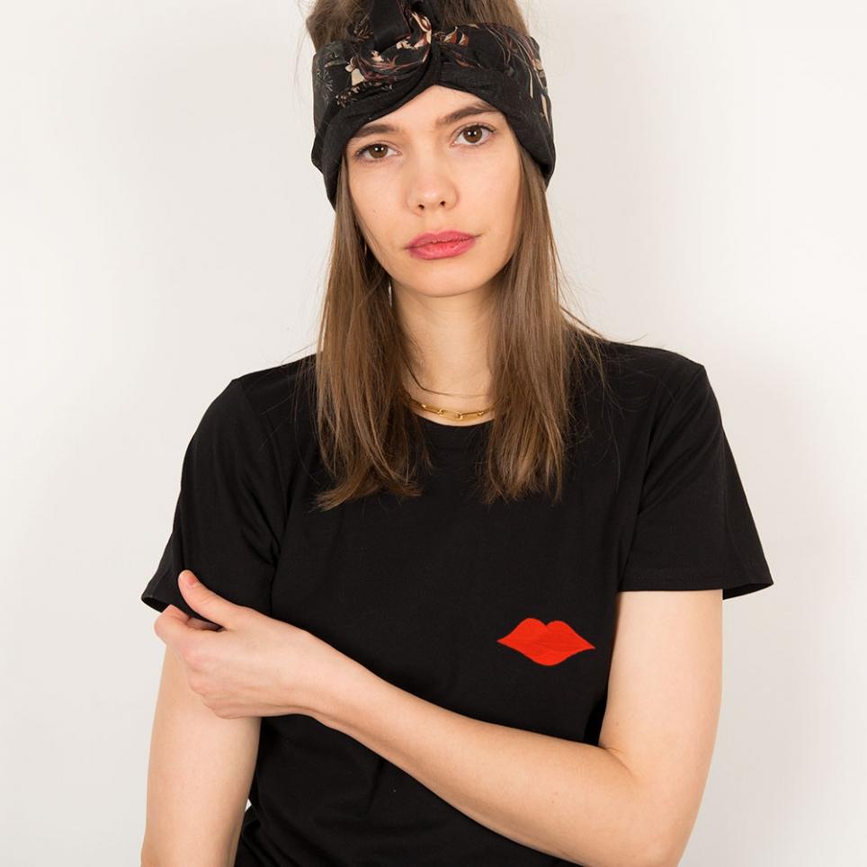 T-Shirt Bouche Vittoria Brodée Noir